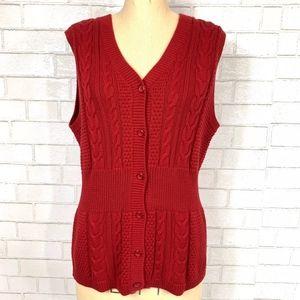 Pendleton Cable Knit S/L Button-Down Sweater Vest